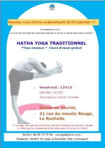 Nouveau cours de Yoga à Danse au Pluriel partir de 20 septembre tous les vendredis 12h15!
